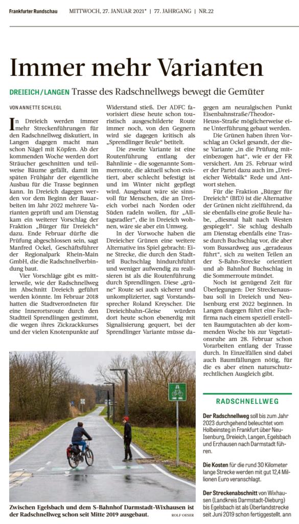 Radschnellweg - Trassenvarianten